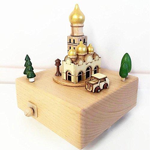 Su @ Da Weihnachten Presents europäischen klassischen Castle Holz Musik Box Craft Dekoration 11* 11* 15cm Music Box-bewegungen Handwerk