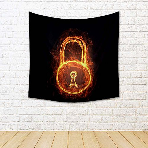 ArtzFolio Glowing Light Lock Sign Silk Tapestry Wall Hanging 24 x 24inch (Side Panel Lock)