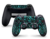 Skins4u Sony Playstation 4 Skin PS4 Controller Aufkleber, Skins, Design, Sticker, Auch für Slim & Pro Gamepads, Motiv Shattered Black Türkis