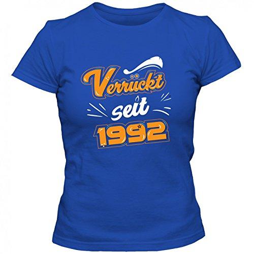 Verrückt seit 1992 Premium T-Shirt | Geburtstags-Shirt | 25. Geburtstag | Jahrgang 1992 | Frauen | Shirt © Shirt Happenz Blau (Royalblue L191)
