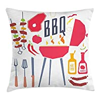 BBQ Party Throw Pillow Cushion Cover, Grilling Station with Utensils Food and Condiments Cartoon Party Composition, Decorative Square Accent Pillow Case, 18 X 18 Inches, Multicolor