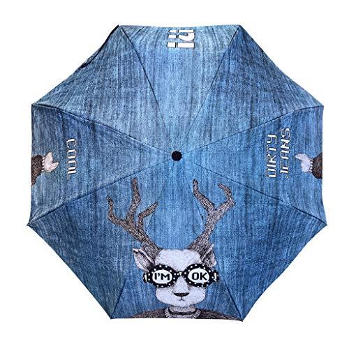 Queen Boutiques Leicht zu Falten Regenschirm 405g Denim Texture 110cm Doppel Regenschirm Tuch Sonnenschutz Regen und Regen Regenschirm mit doppeltem Verwendungszweck Regen- und Winddicht