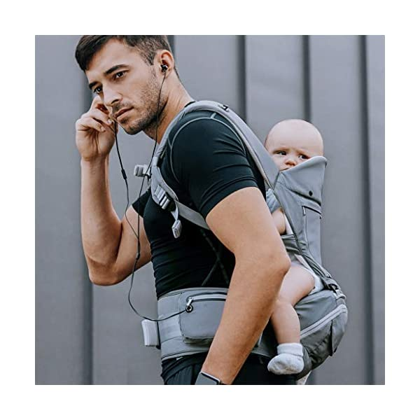 """Front Carriers Baby Sling Waist Stool Multi-Function Four Seasons Universal Seat Baby Sling Front Front Holding Baby Artifact Infant Products Love lamp -front carriers 【Shoulder & Back-Friendly】Extra padded shoulder straps supportive waist belt evenly distributes the weight of the child adjustable straps create a comfortable fit for Moms and Dads of all body types ❤This product is a baby multi-purpose strap waist stool, four seasons universal baby seat stool. ❤This product adopts high-energy """"black technology"""" and innovative 3D memory cotton stool. 2"""