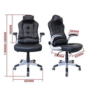 51BFTnmiC4L. SS300  - HG-silla-giratoria-de-oficina-silla-de-juego-confort-superior-reposabrazos-tapizados-silla-de-carreras-capacidad-de-carga-200-kg-altura-ajustable-negro