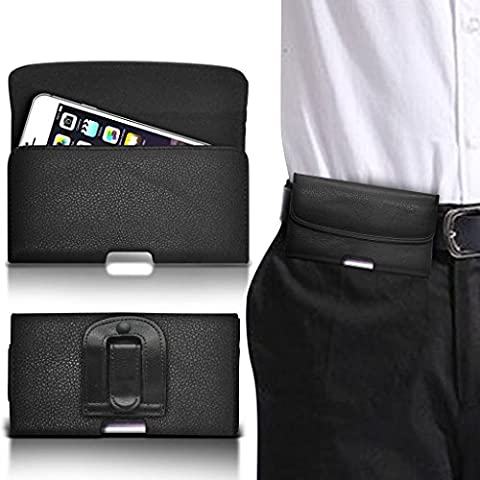 (Black horizontal belt 144 x 76.2 mm ) case for DOOGEE MIX case (PU) Leather Belt Clip Pouch case Flip Cover Holster With Magnetic Button By i-Tronixs