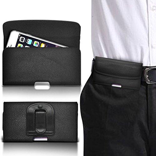 (Schwarz horizontale Band 151. X73.9mm) Tasche Hülle für LeTV Leeco Le Pro3 Elite Tasche Hülle (PU) Leder-Gurt-Klipp-Beutel- Tasche Hülle-Schlag-Abdeckung Holster mit Magnetverschluss von i-Tronixs (Leder Faux Flats)