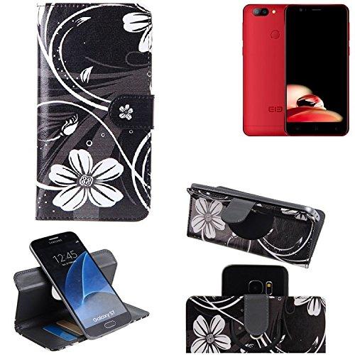 K-S-Trade Schutzhülle Elephone P8 Mini Hülle 360° Wallet Case Schutz Hülle ''Flowers'' Smartphone Flip Cover Flipstyle Tasche Handyhülle schwarz-weiß 1x