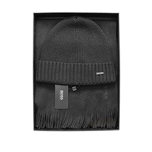 Hugo Boss Kabel gestrickter Schal/Beanie' Albas 'Geschenk Set schwarz, dunkelgrau, dunkelblau Einheitsgröße - Schwarz, Einheitsgröße (Schal-geschenk-set)