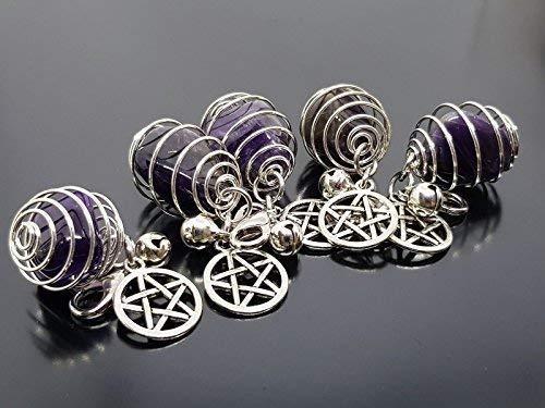 tagramm Anhänger & Kristall Katze Hund Hundehalsband Silber Glocke Hexen Pentagramm Metall - Pentagramm Anhänger, mit : Amethyst ()