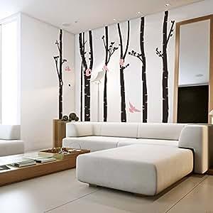 Mercurymall® Grand Stickers muraux forêt et les oiseau Australie Autocollant Papier Stickers Mural Réutilisable Pour Chambre Salon Taille 60*322cm+23*60cm