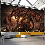 Grand Papier Peint 3D Non Tissé World Of Warcraft Fiery Dragon Peinture Murale De Mur De Mur 3D Murales @ 200 * 140