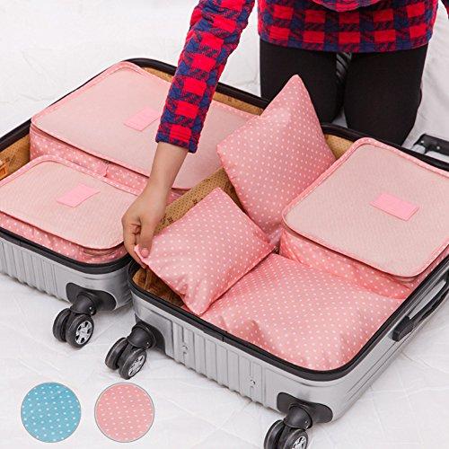 6pcs emballage Cubes, DE VOYAGE SAC DE RANGEMENT bagages organisateurs Compression Pochettes Medium Petite valise free size rose