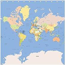 Mapa del mundo–detallados y precisos para 2017–Cortina de ducha (71x 71cm (180x 180cm)