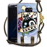 DeinDesign Samsung Galaxy S7 Edge Carry Case Hülle zum Umhängen Handyhülle mit Kette Cards Karten Happiness