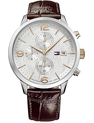Tommy Hilfiger Reloj Multiesfera para Hombre de Cuarzo con Correa en Cuero 1710360