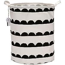 Equipo de mar plegable Organizador de cesta de almacenamiento de basura de almacenamiento de grandes cilíndrico nuevo tejido de estilo francés, para la colada para blusa camiseta ropa interior, etc., tela, Semicircle, 40*50cm