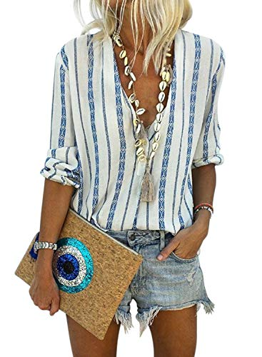 Dokotoo Bluse Damen Hemd Streifen Oberteile V-Ausschnitt Lose Casual Chiffon Langarm T-Shirt Top Tunika Elegant Schlank Blusen Blau M(EU40-EU42) -