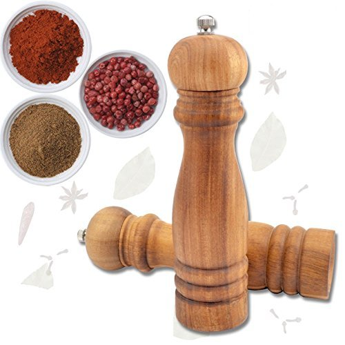 KBF Pepper Grinder, Pepper Mill 10.5 inch, Salt and Wooden Wood Mill, Solid Wood with Strong Adjustable Best Quality Carbon Steel Grinder (1 Piece)