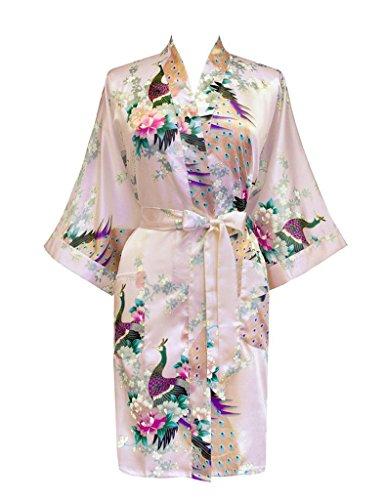 Surenow Kimono Pijama Albornoces de Mujer Satén Pavo & Flores
