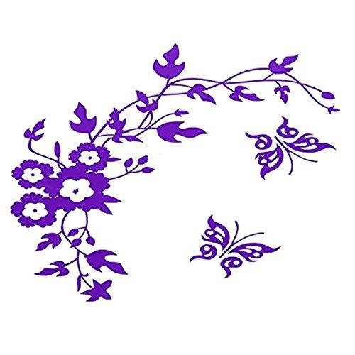 Lalang Lila Aufkleber für WC Toiletten Deckel Hibiskusblüten und Schmetterlinge Wand-Aufkleber