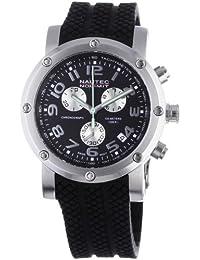 Nautec No Limit Firth - Reloj cronógrafo de caballero de cuarzo con correa de goma negra (cronómetro) - sumergible a 100 metros