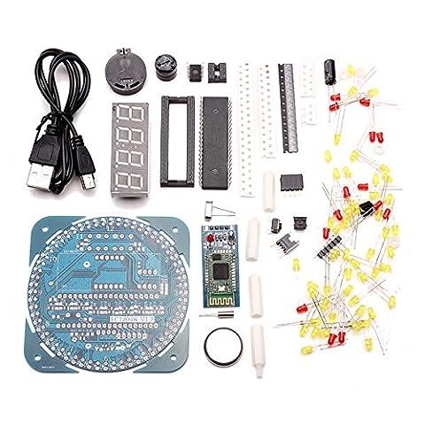 Doradus bricolage rotation de LED AT89S52 électronique protocole Bluetooth 2.0 kit de contrôle d'horloge 51 scm du conseil d'apprentissage