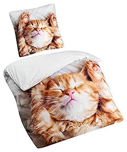 Aminata Kids - Kinder-Bettwäsche-Set Katze 135-x-200-cm Baumwolle, Mädchen-Teenager-Bettwäsche - weiß, braun - mit Marken-Reißverschluss & Öko-Tex - 3-D Digital-Druck (Braun Mädchen Rosa Baby Und Bettwäsche)