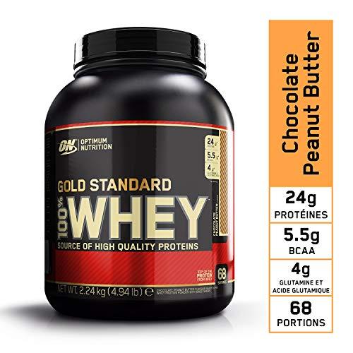 Optimum Nutrition Gold Standard 100% Whey Protéine en Poudre avec Whey Isolate, Proteines Musculation Prise de Masse, Chocolat Beurre de Cacahuète, 68 portions, 2.24 kg
