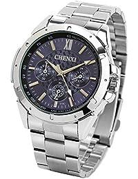 ufengke® männer römischen ziffern leucht armbanduhren,schönes edelstahl handgelenk armbanduhren für männer-blau, dekorative kleine Zifferblätter