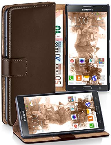 moex® Booklet mit Flip Funktion [360 Grad Voll-Schutz] für Samsung Galaxy Note 3 Neo | Geldfach und Kartenfach + Stand-Funktion und Magnet-Verschluss, Dunkel-Braun - Leather Galaxy Case 3 Note Wallet