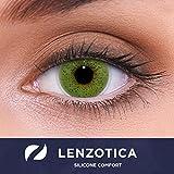 """Stark deckende natürliche grüne Kontaktlinsen farbig SILICONE COMFORT """"Solid Green"""" + Behälter von LENZOTICA I 1 Paar (2 Stück) I DIA 14.00 I ohne Stärke I 0.00 Dioptrien"""