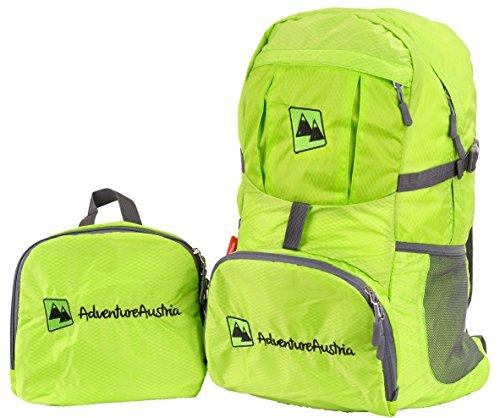 Pieghevole Zaino Leggero 35L Backpack Daypack - per Viaggio Escursioni Bici Vacanze Sportivo ecc. Adatto per Donna Uomo & Bambini. Impermeabile Regolabile Catarifrangente. (Verde)