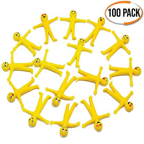 100 dehnbarer Smiley Glibber Männchen - Dehnbare Mitbringsel, Kleine kindergeburtstag gastgeschenke - Kinder Party Bag & Pinata füllung - Entspannung Zappeln Sensorisches Spielzeug für Kinder