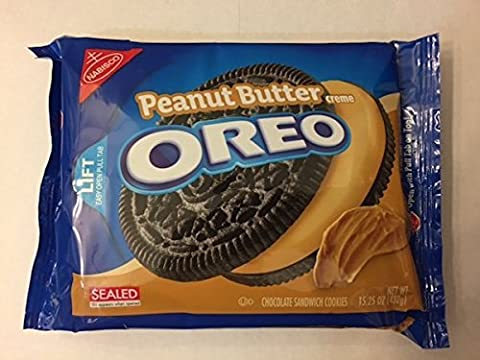 Oreo Chocolate Sandwich Cookies, Peanut Butter Creme Flavor, 15.25 oz (2 Pack) by Nabisco