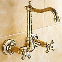 WYMBS Accessori per mobili creativo decorazione bagno Rubinetto di acqua calda e fredda di stile europeo antico doppio foro doppia parete rame
