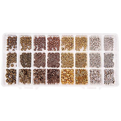 PandaHall Elite 720pcs / Box 6 Stile 4 Farben Tibetische Legierung Spacer Perlen Schmuckzubehör Zubehör für Armband Halskette ()