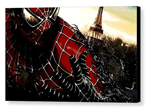 - SPIDER MAN SPIDERMAN UOMO RAGNO - STAMPA SU TELA, STRETCHED CANVAS PRINT, DRUCK AUF KEILLENWAND - Riproduzione dal dipinto originale (32 x 25 CM)