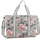 MOSISO 15,6 Pouces Housse Ordinateur Portable Toile Classique Rose Motifs Multifonctionnel Sac Main Shopping Sac Bandoulière Compatible MacBook, Notebook Sac Porté Épaule Femme, Gris