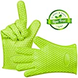 Shuban Silicone Baking and BBQ Insulated Oven Gloves (Green)
