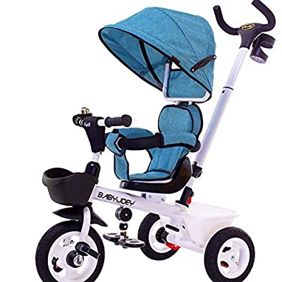 TRICYCLE Kid 4 in 1 Trike Baby Walker Bike Kids Push Stroller with Rotating Seat,Blue-107 * 77 * 50cm
