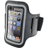 Funda con brazalete deportivo para iPhone 5, 5s y 5c (con orificio para auriculares y compartimento para llaves), color negro