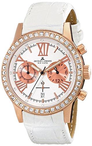 Jacques Lemans Porto 1-1527D Ladies White Leather Strap Watch