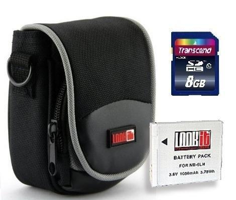 LOOKit® Kameratasche GW7+ LOOKit Akku NB-6LH / 1050mAh + Speicherkarte SDHC 8GB Class 10 -- für Canon PowerShot SX710 SX610 SX600 SX700 S200 S120