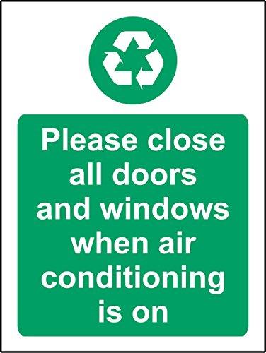 Bitte Schließen Sie alle Türen und Fenster Wenn Klimaanlage ist auf Sicherheit Schild-Sticker Selbstklebend 300mm x 200mm x 200mm