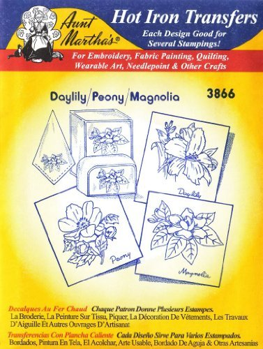 Taglilien Pfingstrose Magnolia Tante Martha 's Hot Eisen Stickerei Transfer (Stickerei Marthas Transfers Tante)