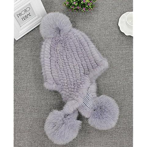 ZYONG*La mujer de lujo real de invierno pieles de visón tricotado Fox Fur Sombreros Earmuff Tapas