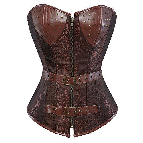 Low Back Korsett (Grebrafan Damen Gothic Kunstleder Korsage Vintage Cosplay (EUR(36-38) L, Braun))
