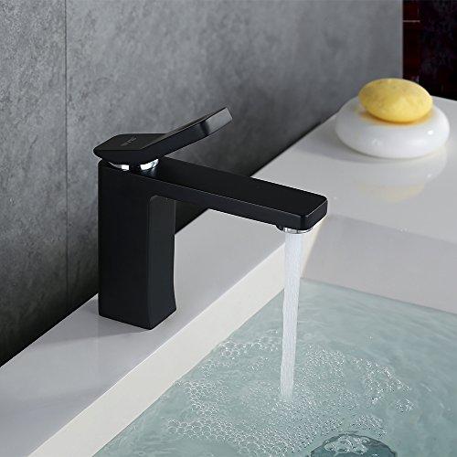 Homelody – Waschtisch-Einhebelarmatur, ohne Ablaufgarnitur, Luftsprudler, Keramikkartusche, Schwarz - 2