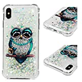 Hülle für iPhone XS Max,Transparent Glitzer Handyhülle,Sequins Sparkle Flüssig Liquid Crystal Shiny Case Tasche Schutzhülle in Green Bead owl