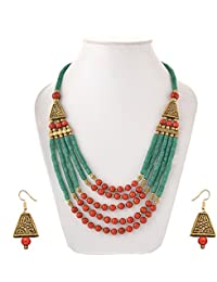 Green And Red Beaded Multi String Stylish Necklace From Gaura Creation For Fashionable Women And Girls